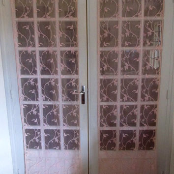 Retro French Door Curtains, Pink Lace French Door Curtains, Pink Floral Curtains