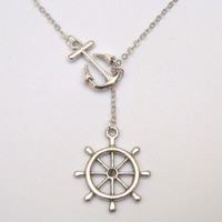Silver Plated Brass Anchor Helm Necklace