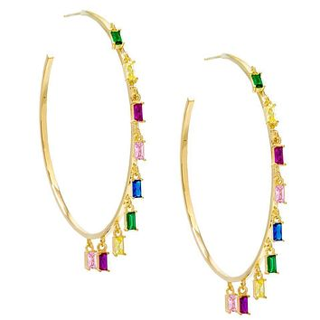 """Pave Mini Baugette Dainty Rainbow 1.4"""" Hoop Earring Embellished with Swarovski Crystals in 18K Gold Plated"""