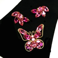 Pink Rhinestone Butterfly Brooch Earrings Set - Juliana StyleDemi Parure -  Butterfly Pin & Clip ons - Vintage Flying Insects
