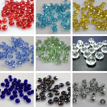U Pick 12 Colors 4*6mm 50pcs Rondelle  Austria faceted Crystal Glass Beads Loose Spacer Round Beads for Jewelry Making