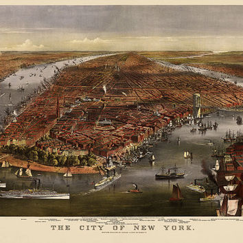 Antique Map of New York City (1870) by Currier and Ives - Archival Reproductiom