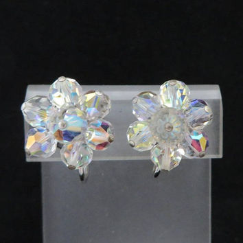 Vintage Crystal Flower Earrings | Silver Tone Cluster Clip-on Earrings