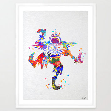Skull Kid Majora's Mask inspired Legend of Zelda Watercolor Art Print,Wall Art Hanging,Home Decor,Kids Art,Motivational,Inspirational, #162