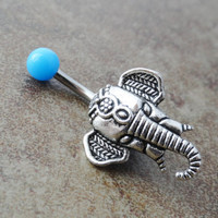 Blue Elephant Belly Button Ring Jewelry
