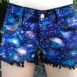 Hand painted Galaxy Shorts