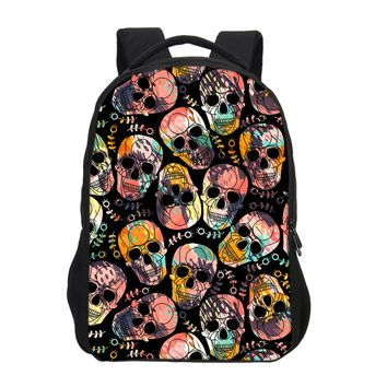 Canvas Skull Printing Children Backpacks Cool Rock School Book bag