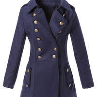 Navy Blue Double-breasted Woolen Trench Coat