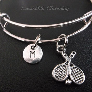 On sale.......Tennis bracelet, Stainless Steel Expandable Bangle, monogram personalized item No.223