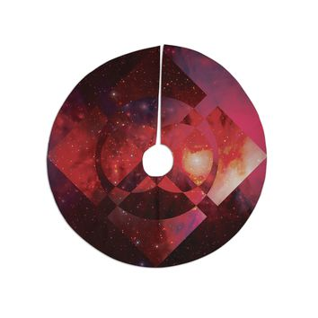 "Matt Eklund ""Galactic Radiance Crimson"" Red Pink Tree Skirt"