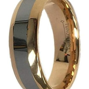 CERTIFIED 8Mm  Wedding Bands Two Tone Rose Gold & Tungsten Carbide Ring Men's