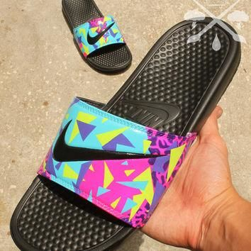 Nike Custom Bel-Air Jordan 5 Fresh Prince Benassi Swoosh Slide Sandals Flip flops Men'