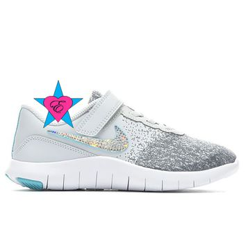Bedazzled Gray Girls Nike Flex Contact | 10.5-3