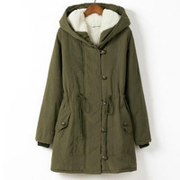 Winter Loose Woolen Trench Coats Button Long Jackets Hoodies