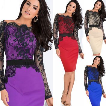 Off-shoulder Lace Patchwork Long Sleeves Hollow Out Knee-length Dress