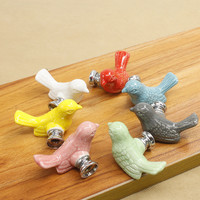 Retro Bird Ceramic Door Knob Children Room Cupboard Cabinet Drawer Suitable Kitchen Furniture Home Pull Handle