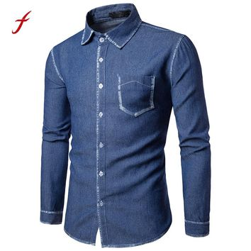 2017 Large Size Denim Men Shirt M~2XL Cotton Brand Clothing Jeans Camisa Social Masculina Long Sleeve Blue Chemise Homme