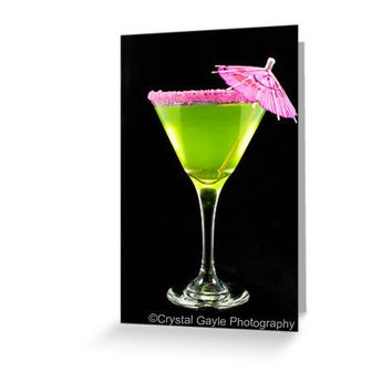 Late Night Martini Greeting Card Blank Note Card of Fine Art Photograph Party Invitation Social Invitation
