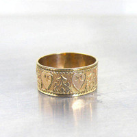 Antique Victorian Wedding Band Ring, Embossed Hearts Cigar Band, 14K Rose Gold Filled, Size 6 1/2