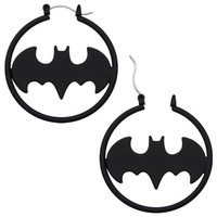 "316L Surgical Steel, Batman Matte Black Fashion 1.5 ""Hoop Earring Pair Bat man"
