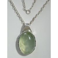 "Green Chalcedony Cabochon Pendant Sterling Silver Bezel  w/ 16"" 2.8 mm Sterling Silver Cable Chain"