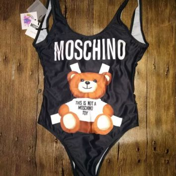 Black Moschino One Piece Bikini Swimsuit Bodysuit