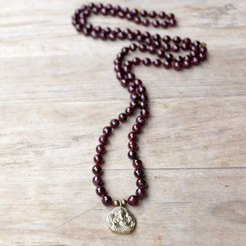 Garnet Hand Knotted Mala Necklace with Ganesh 'Success' Pendant