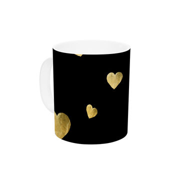 "Robin Dickinson ""Floating Hearts"" Gold Black Ceramic Coffee Mug"