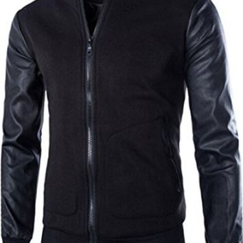 jeansian Men's Casual Stitching Leather Sweatshirts Jacket 9373