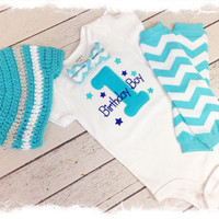 Baby BOYS FIRST BIRTHDAY Outfit-Boys 3 Pc Bow Tie Birthday Outfit-Aqua Chevron Birthday-Birthday Boy Bodysuit with Beanie and Crawlers
