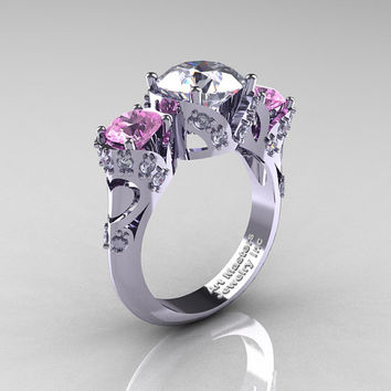 Scandinavian 14K White Gold 2.0 Ct White and Light Pink Sapphire Diamond Three Stone Designer Engagement Ring R406-14KWGDLPSWS