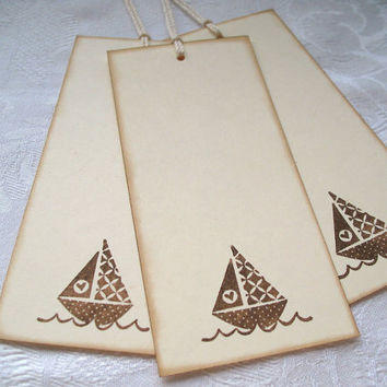 Baby Shower Wish Tags Vintage Sailboat