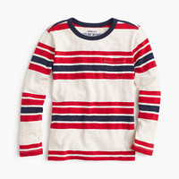 crewcuts Boys Cotton Long-Sleeve Pocket T-Shirt In Engineered Stripe
