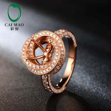 Free shipping 7mm Round Cut 18kt Rose Gold Natural Diamond Semi Mount Ring Jewelry for Engagement