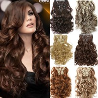 7pcs/set Clip In Hair Extension Curly Synthetic  Wavy Hair Extensions
