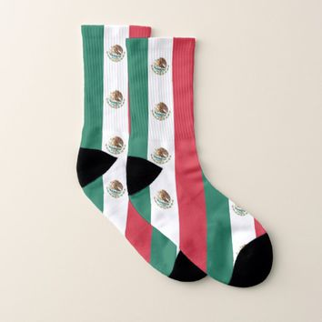 All Over Print Socks with Flag of Mexico