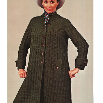 Knitting Pattern Vintage 70s- Knitted Coat Pattern-Knitting Jacket Pattern- - PDF Pattern - INSTANT DOWNLOAD