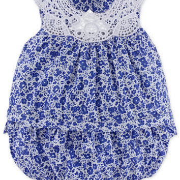 Ralph Lauren Baby Girls' Floral Cotton Bubble Shortall