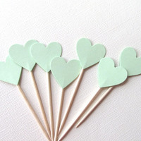 24 Mint Heart Cupcake Toppers, Party Decor, Weddings, Showers, Love