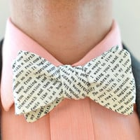 Men's Bow Tie in Text- freestyle wedding groomsmen bowtie neck self tie black and white writing type