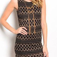 Gold Embroidered Body-Con Dress