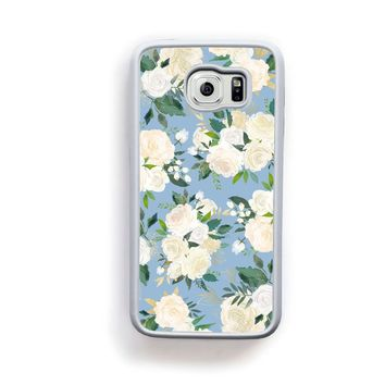 Rose gold leaf cluster pattern on light blue for Galaxy S6 0144a691b9a3