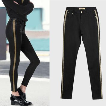 Fashion All-match Multicolor Stitching Stripe High Waist Jeans Trousers Women Pencil Pants