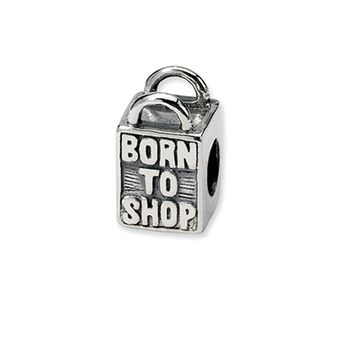 Sterling Silver Born to Shop, Shopping Bag Bead Charm