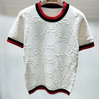 GUCCI Fashion Women Casual Double G Letter Round Collar Knit T-Shirt Top White