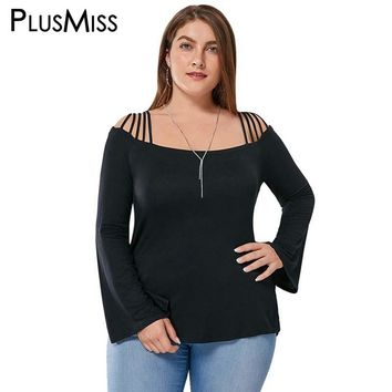 Plus Size 5XL Sexy Lace Up Off the Shoulder Blouse Shirt Women Clothing Autumn 2017 Black Flare Sleeve Cut Out Tops Blusas