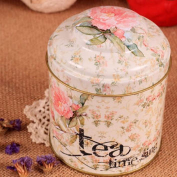 Retro Sealed Flower Kitchen Tea Time Coffee Tea Sugar Container Jar Tin Metal Can
