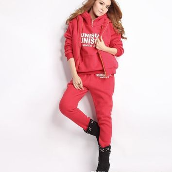 Winter Women Thick 3pcs Tracksuits Hooded Hoodies Vests Pants Clothing Sets Fleece Warm Suits