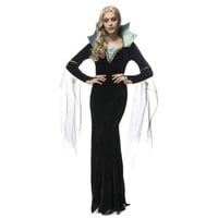Luxury Black Vampire Dress Halloween Witch Queen Costume