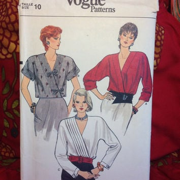 Wrap-Blouse with Multiple Designs Pattern Vogue Patterns 8890- Vintage 1980's